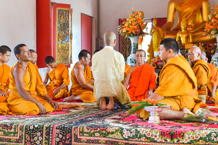 Ordinatie in de tempel Chachoengsao, Thailand