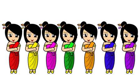 week: cartoon Thai girl have Color of the week  Stock Photo