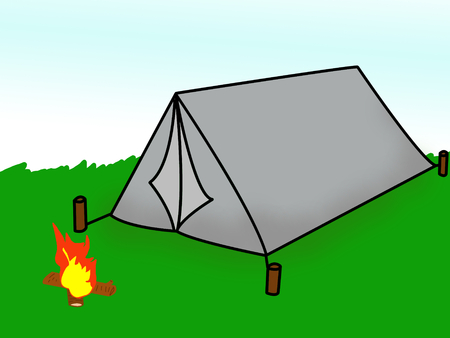 Camp in cartoon Stock Photo - 30571139