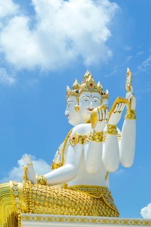 chachoengsao: big white statue of brahma