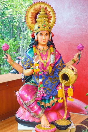 beautiful Lakshmi statue in Saman temple, Thailand Stock Photo