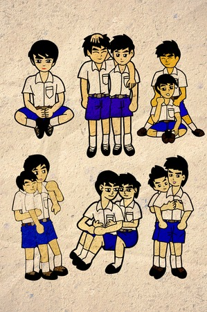 Thai boy student cartoon collection on old paper