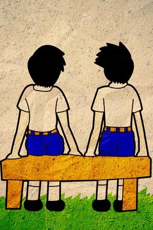 backside: backside boys student cartoon on old paper
