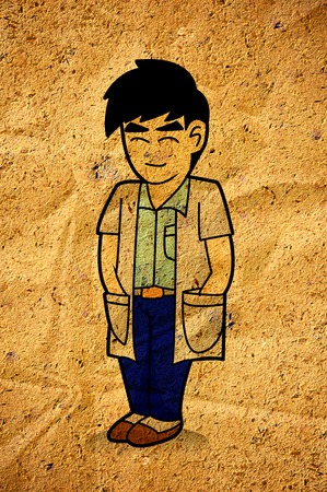 scientist man, cartoon on old crumpled paper