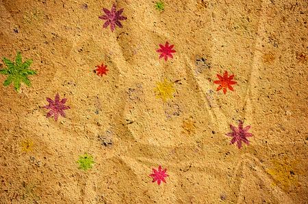 Texture fiore sulla vecchia carta stropicciata Archivio Fotografico - 31215352