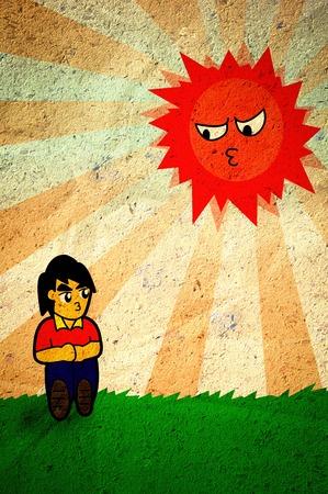 Hombre y el sol de dibujos animados sobre el papel viejo y sucio Foto de archivo - 31106144