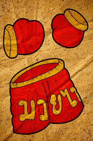 Red Boxer clothing cartoon on old crumpled paper