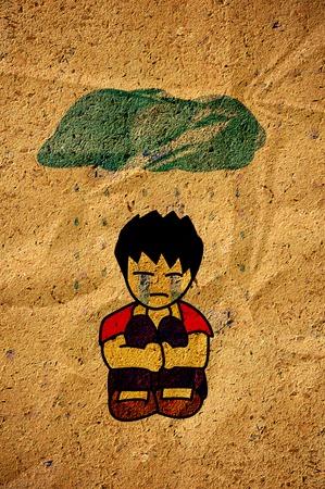 Sad boy cartoon on old crumpled paper Stock Photo