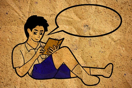 student boy reading a book, cartoon on old crumpled paper photo