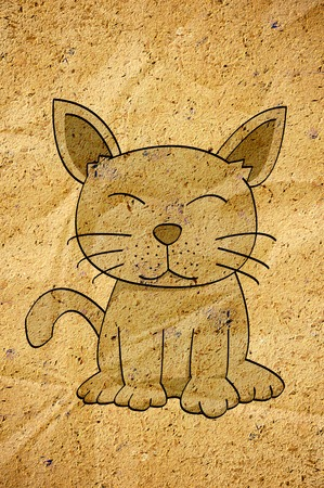 cartoon cat on old paper