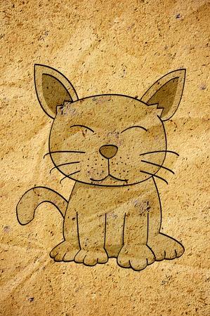 cartoon kat op oud papier