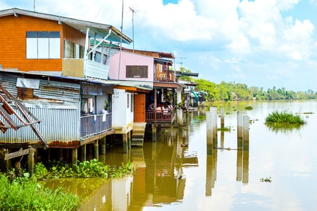 wood home in waterfront Bang Pakong River, Thailand