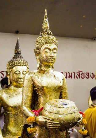gold: Gold buddha statue in temple thailand