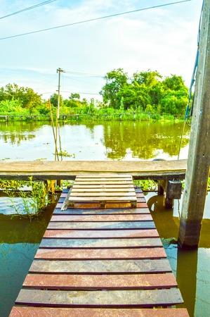 wood bridge Banco de Imagens