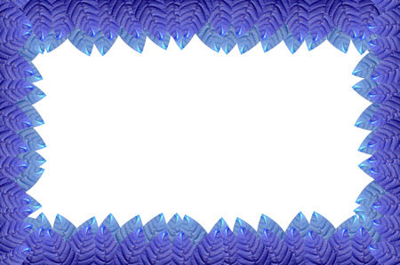 bordering: blue leaves top and bottom border Stock Photo