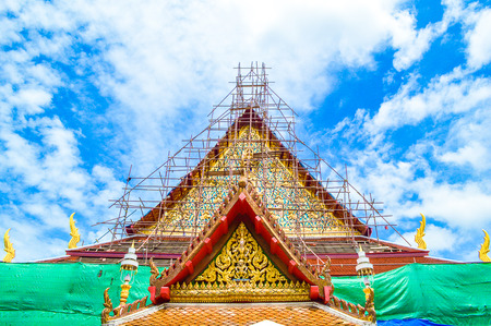 the Buddhism temple in renovation, bangkok Thailand