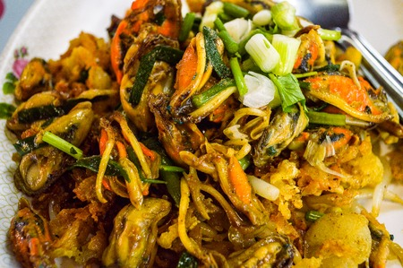 Crispy Mussel and Beansprout Pancake