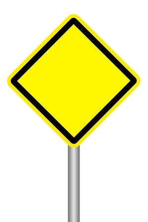 흰색 배경에 빈 노란색 경고 도로 표지판 스톡 콘텐츠