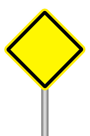 signal pole: Empty yellow warning road sign on white background
