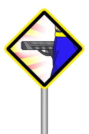 노란색 기호는 총 남자를 조심하십시오.
