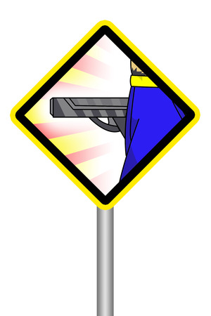 beware: yellow sign beware of gun man Stock Photo