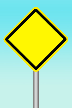signal pole: Empty yellow warning road sign on blue background Stock Photo