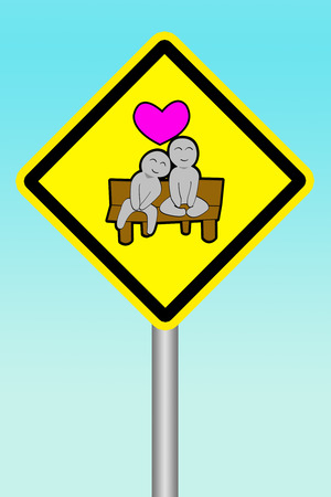 yellow sign beware of human have Love (for celibate)