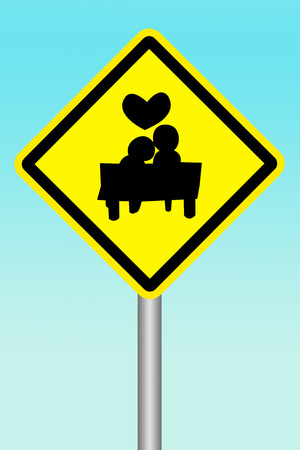 beware: yellow sign beware of human have Love Stock Photo