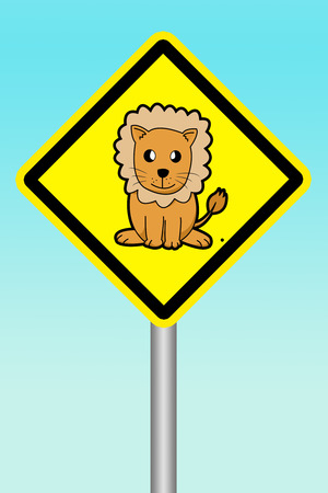 beware: yellow sign beware of lion