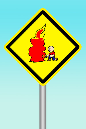 beware: yellow sign beware of arsonist