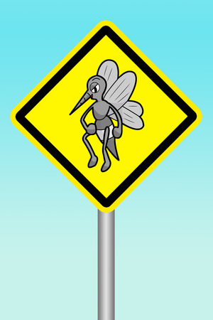 beware: yellow sign beware of mosquitoes Stock Photo