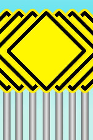 빈 노란색 경고 도로 표지판 스톡 콘텐츠