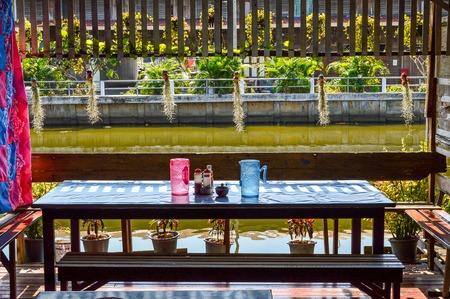 Restaurant in waterfront Bangkok Thailand 新聞圖片