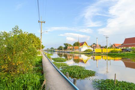 klong: walkway waterfront Klong Preng, chachoengsao, thailand