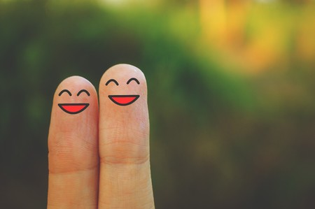 sonrisa: dedos sonrisa Foto de archivo
