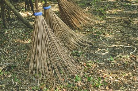 broom from coconut branch in garden photo