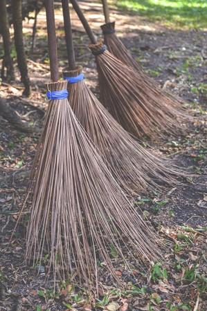 besom: broom from coconut branch in garden Stock Photo