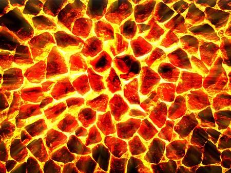 hete lava in gebarsten grond