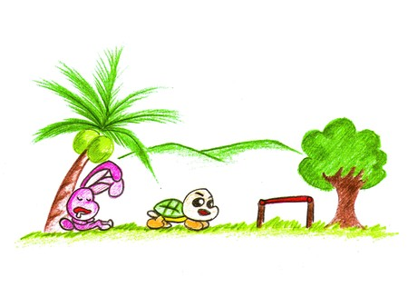cartoon rabbit and turtle photo