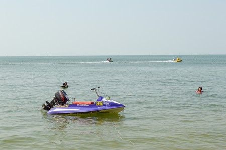 speedboat and scuter , a tourist comes to use serve on the seaside a beach is bangsan , tourist highly popular attraction is of Thailand