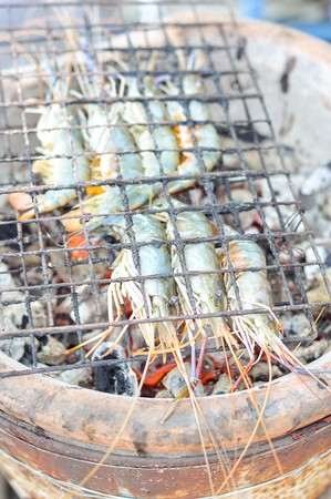 Grilled prawns on the grill photo