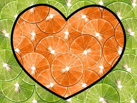 heart orange lemon on green lemon for background photo