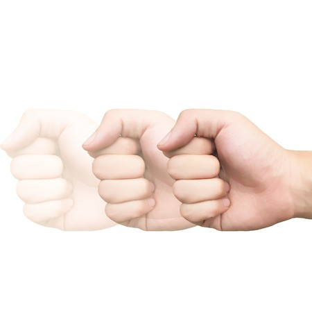 isolation: fist hand isolation Stock Photo
