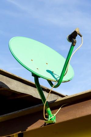 airwaves: green satellite dish Stock Photo