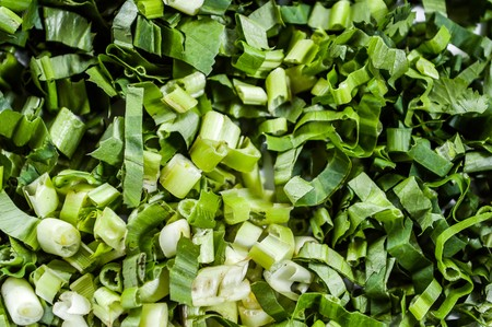 alliaceae: green onion sliced Stock Photo