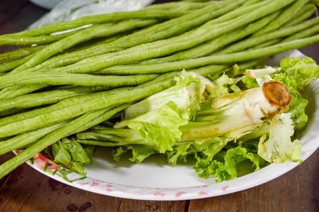 long bean: Yard Long bean and Lactuca sativa on dish