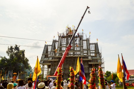 gable: 30 November 2014 - Opening ceremony for the temple gable apex at Wat Prasat Nong Pukbung, Sakaeo, Thailand