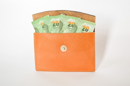 smacker: Money in my bag on white background Stock Photo