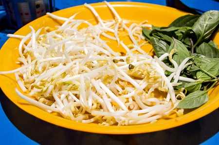 beansprouts: Bean Sprouts and Basil leaves