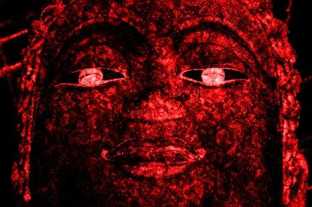 donkerrood Boeddhabeeld gezicht textuur Stockfoto